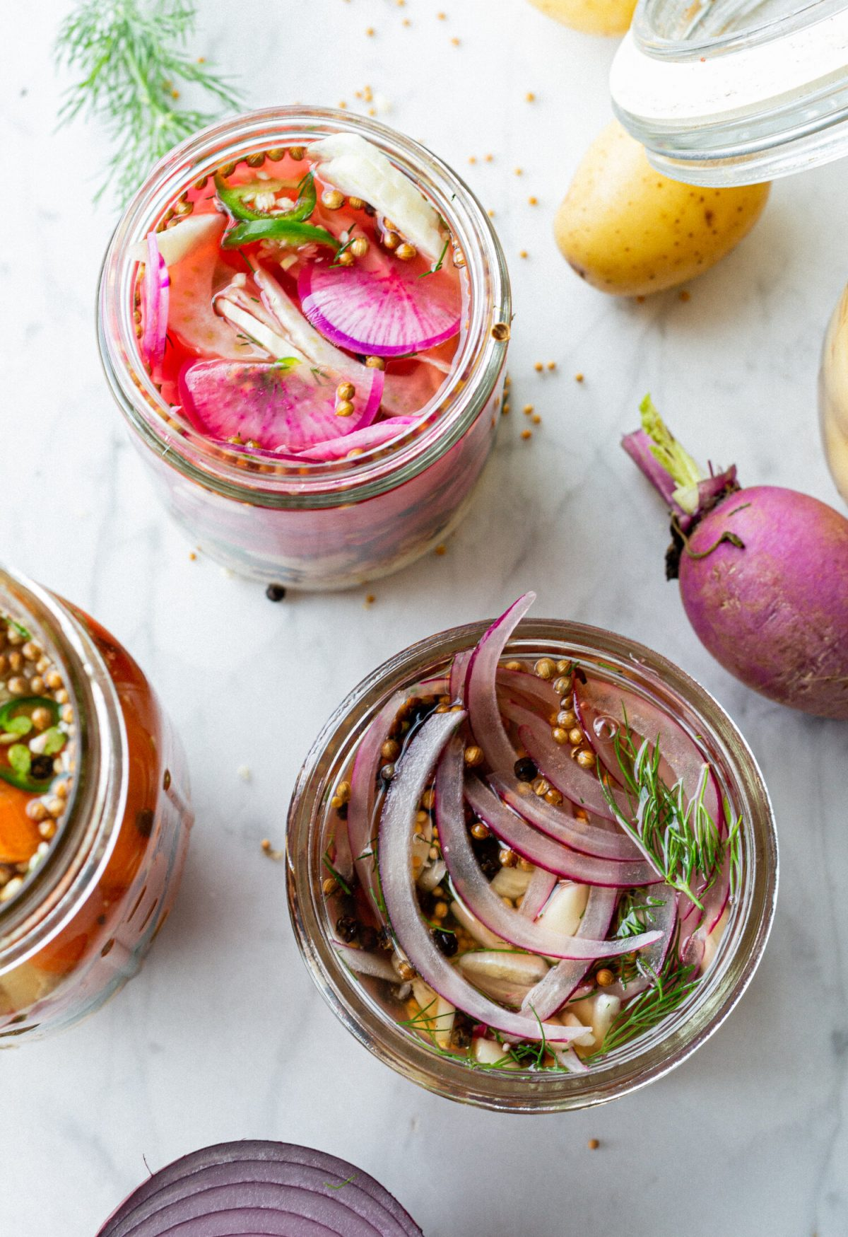 radishes and seeds in a jar on a counter showing how to pickle veggies