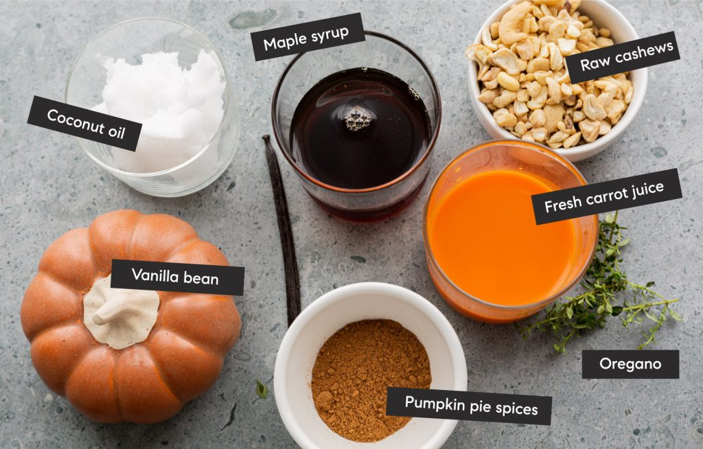 all of the custart ingredients spread out on a counter and labelled.